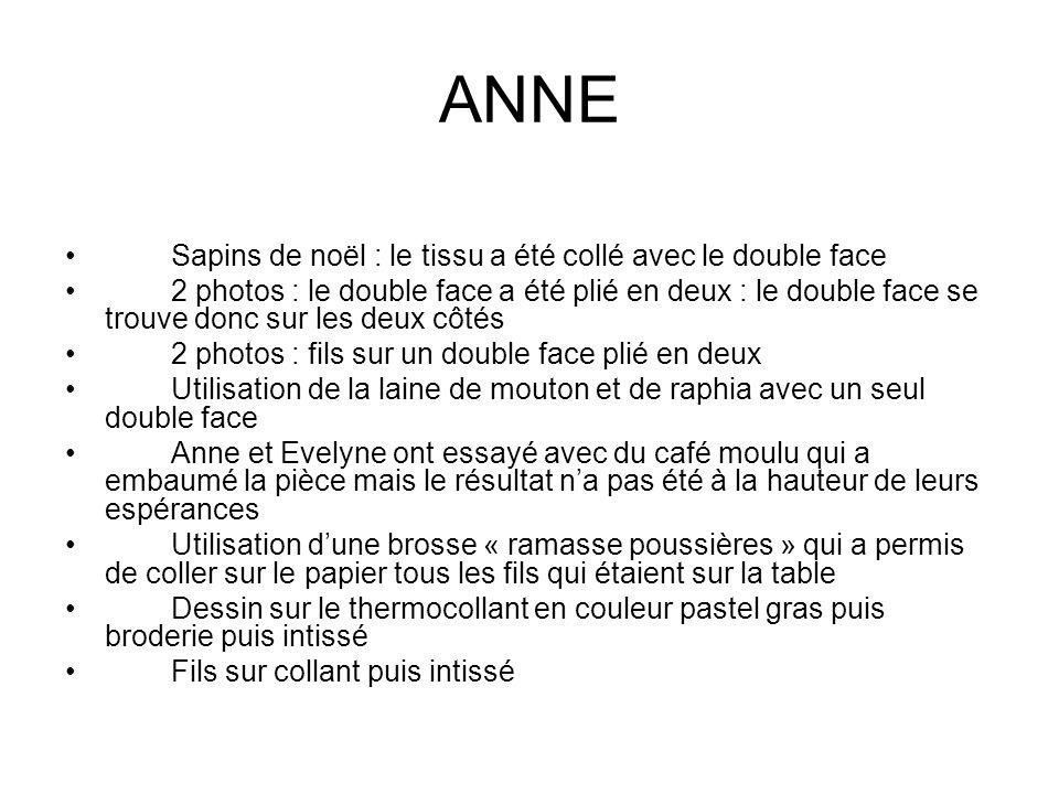 ANNE Sapins de noël : le tissu a été collé avec le double face 2 photos : le double face a été plié en deux : le double face se trouve donc sur les de