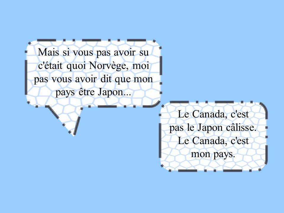 Mais si vous pas avoir su c'était quoi Norvège, moi pas vous avoir dit que mon pays être Japon... Le Canada, c'est pas le Japon câlisse. Le Canada, c'