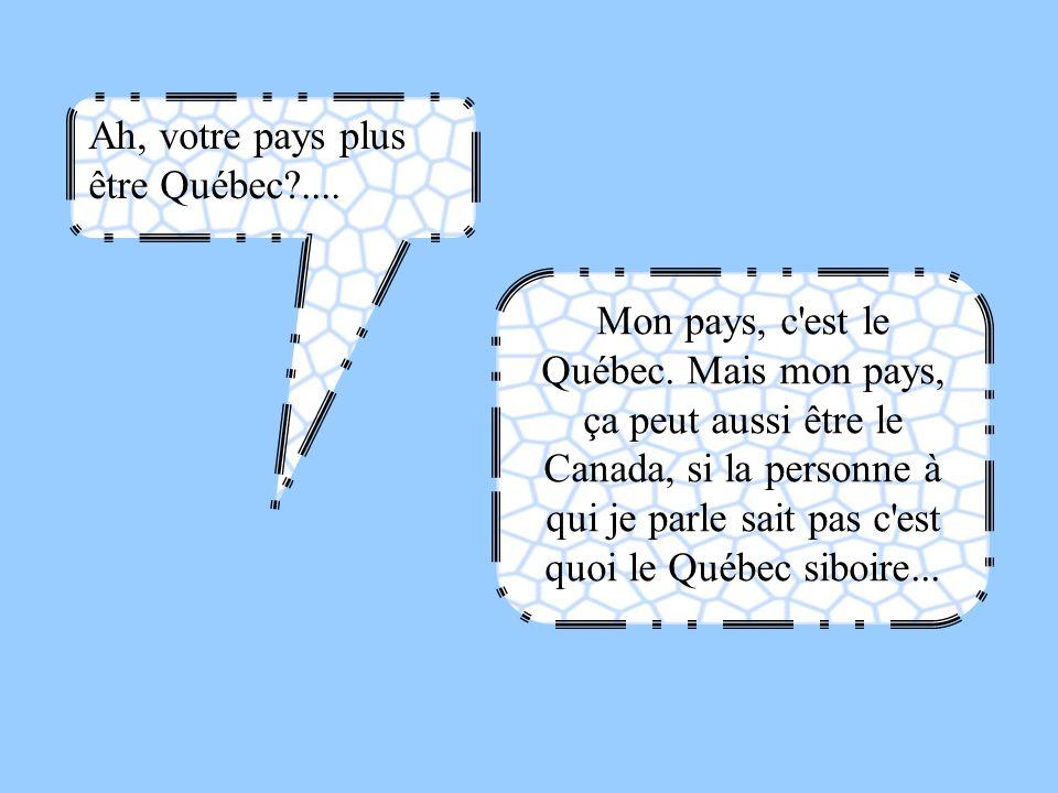 Ah, votre pays plus être Québec?.... Mon pays, c'est le Québec. Mais mon pays, ça peut aussi être le Canada, si la personne à qui je parle sait pas c'