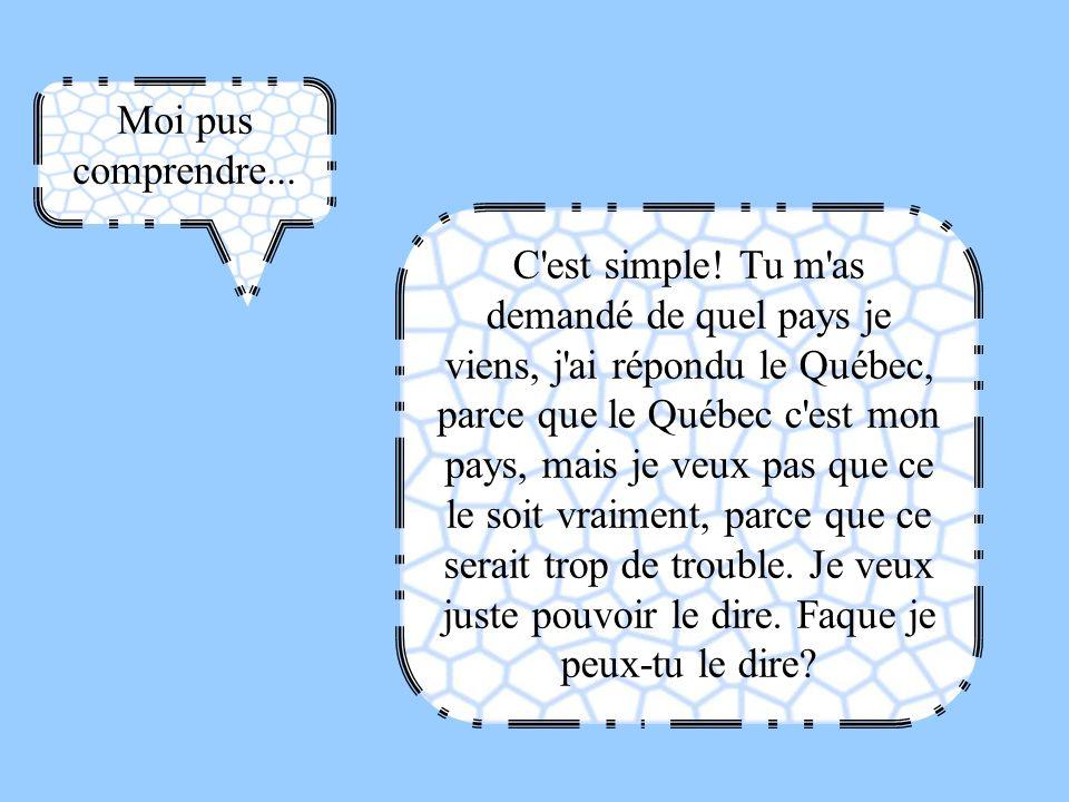 Moi pus comprendre... C'est simple! Tu m'as demandé de quel pays je viens, j'ai répondu le Québec, parce que le Québec c'est mon pays, mais je veux pa