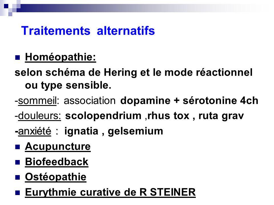 Traitements alternatifs Homéopathie: selon schéma de Hering et le mode réactionnel ou type sensible. -sommeil: association dopamine + sérotonine 4ch -
