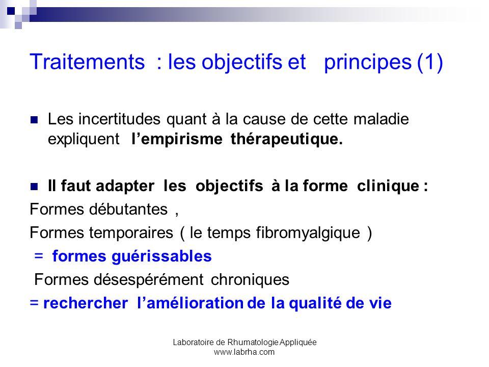 Laboratoire de Rhumatologie Appliquée www.labrha.com Traitements non pharmacologiques ( 6 ) 6:kinésithérapie: -Balnéokinésithérapie -Crénothérapie (douches chaudes,vaporisations) protocole en cours Vichy (03), Néris.