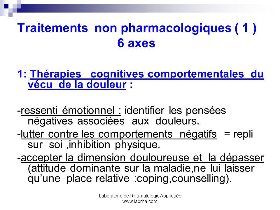 Laboratoire de Rhumatologie Appliquée www.labrha.com Traitements non pharmacologiques ( 1 ) 6 axes 1: Thérapies cognitives comportementales du vécu de