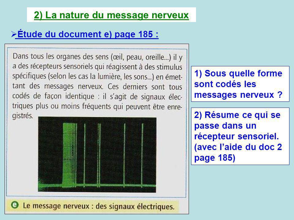 2) La nature du message nerveux Étude du document e) page 185 : 1) Sous quelle forme sont codés les messages nerveux ? 2) Résume ce qui se passe dans