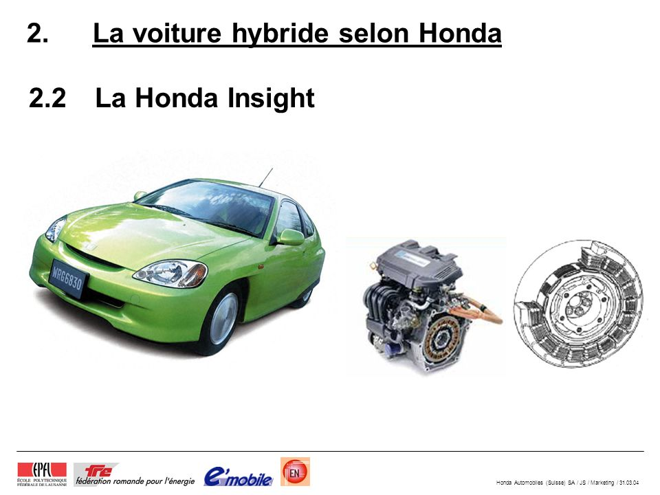 Honda Automobiles (Suisse) SA / JS / Marketing / 31.03.04 2. La voiture hybride selon Honda 2.2La Honda Insight