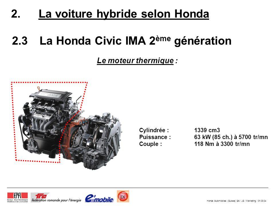 Honda Automobiles (Suisse) SA / JS / Marketing / 31.03.04 2.La voiture hybride selon Honda 2.3La Honda Civic IMA 2 ème génération Le moteur thermique : Cylindrée : 1339 cm3 Puissance : 63 kW (85 ch.) à 5700 tr/mn Couple : 118 Nm à 3300 tr/mn