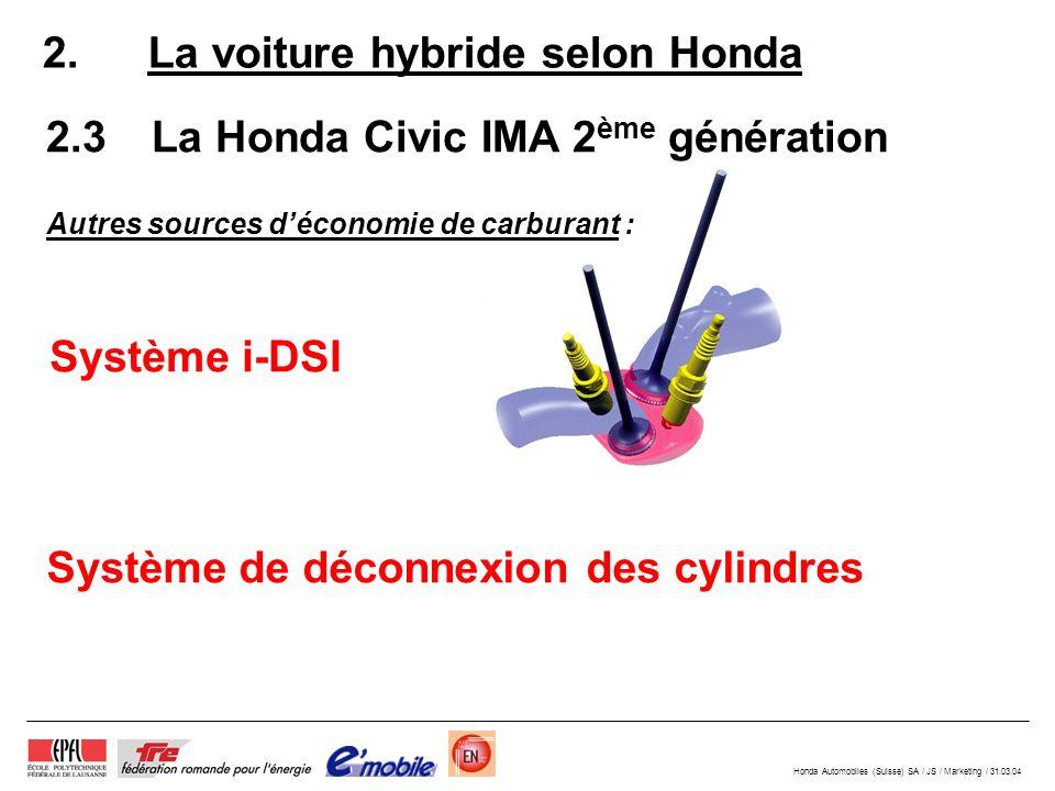 Honda Automobiles (Suisse) SA / JS / Marketing / 31.03.04 2. La voiture hybride selon Honda 2.3La Honda Civic IMA 2 ème génération Système i-DSI Systè