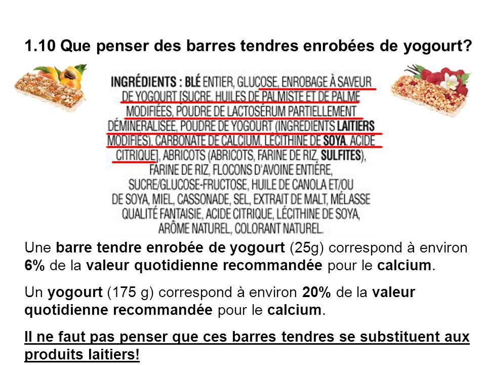 1.10 Que penser des barres tendres enrobées de yogourt? Une barre tendre enrobée de yogourt (25g) correspond à environ 6% de la valeur quotidienne rec