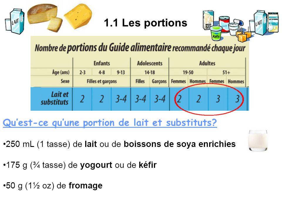 1.1 Les portions Quest-ce quune portion de lait et substituts? 250 mL (1 tasse) de lait ou de boissons de soya enrichies 175 g (¾ tasse) de yogourt ou