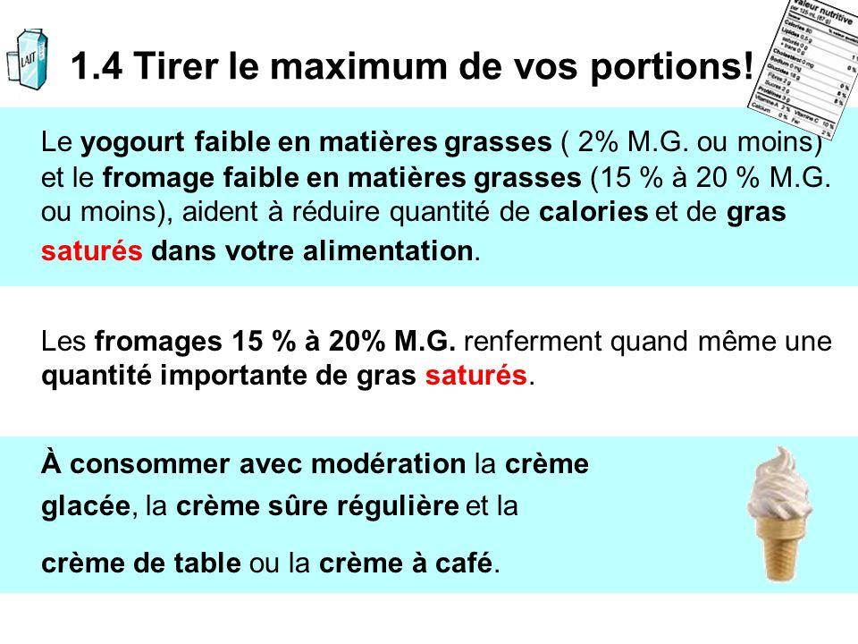 Le yogourt faible en matières grasses ( 2% M.G. ou moins) et le fromage faible en matières grasses (15 % à 20 % M.G. ou moins), aident à réduire quant