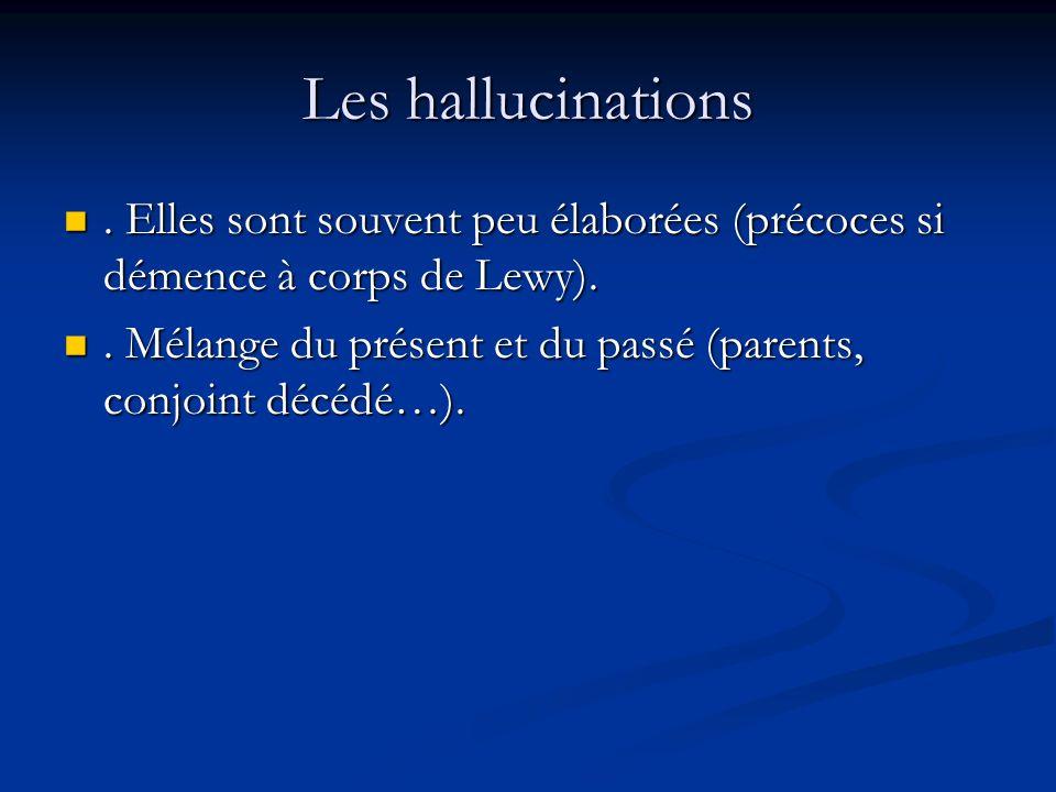 Les hallucinations.Elles sont souvent peu élaborées (précoces si démence à corps de Lewy)..