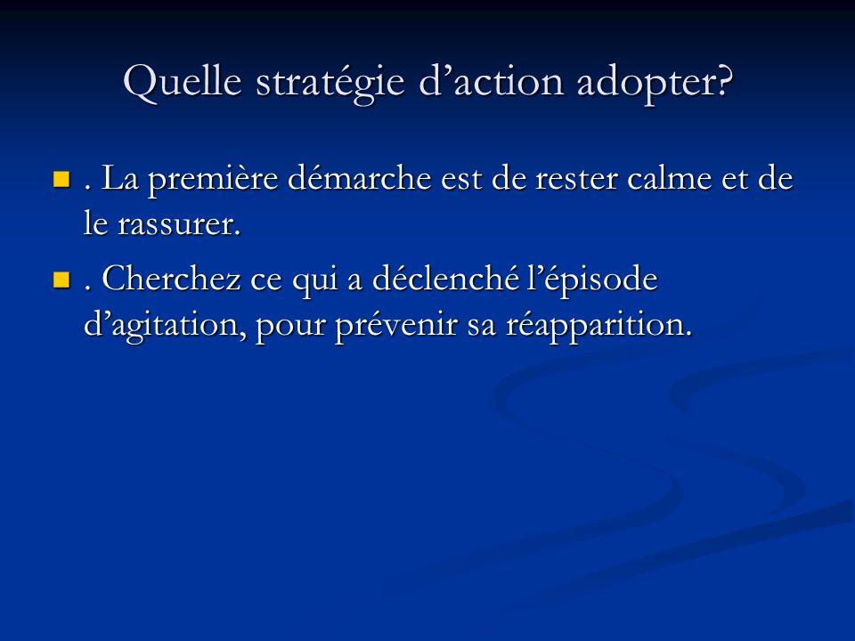 Quelle stratégie daction adopter?.La première démarche est de rester calme et de le rassurer..
