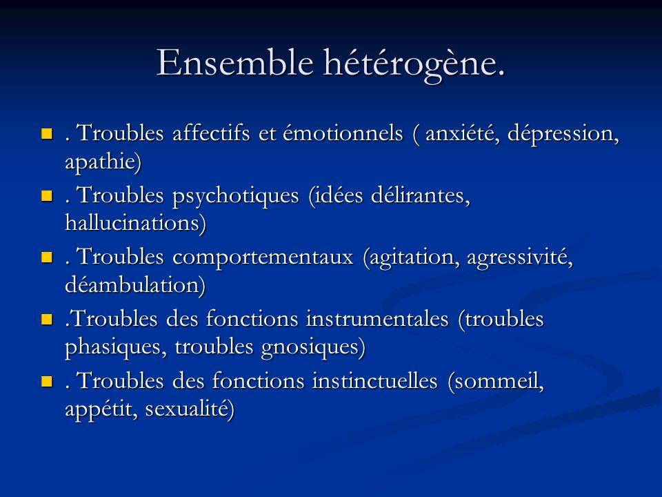 Ensemble hétérogène..Troubles affectifs et émotionnels ( anxiété, dépression, apathie).