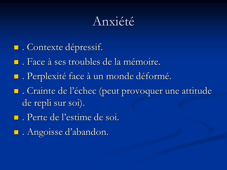 Anxiété. Contexte dépressif.. Contexte dépressif.. Face à ses troubles de la mémoire.. Face à ses troubles de la mémoire.. Perplexité face à un monde