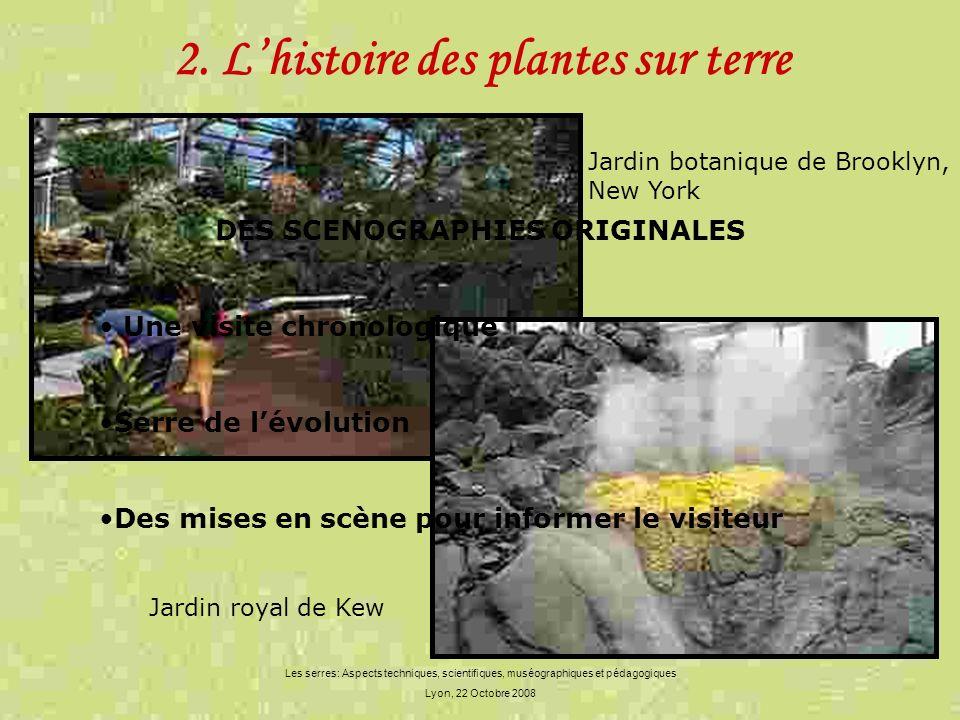 2. Lhistoire des plantes sur terre Les serres: Aspects techniques, scientifiques, muséographiques et pédagogiques Lyon, 22 Octobre 2008 DES SCENOGRAPH