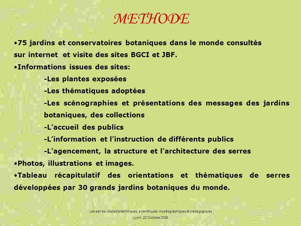 METHODE Les serres: Aspects techniques, scientifiques, muséographiques et pédagogiques Lyon, 22 Octobre 2008 75 jardins et conservatoires botaniques d