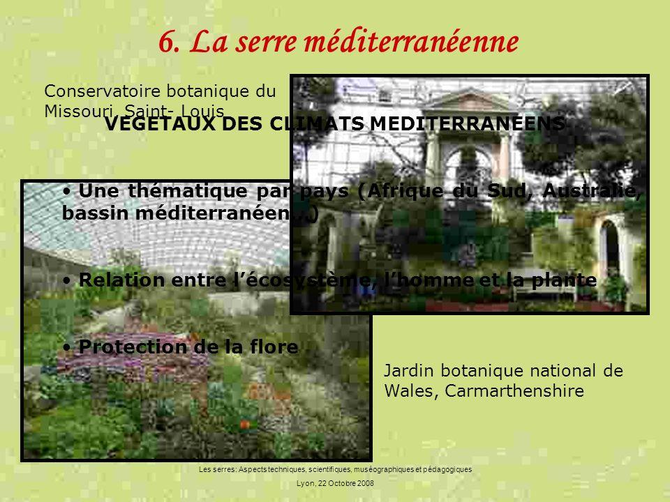 Les serres: Aspects techniques, scientifiques, muséographiques et pédagogiques Lyon, 22 Octobre 2008 6. La serre méditerranéenne VEGETAUX DES CLIMATS