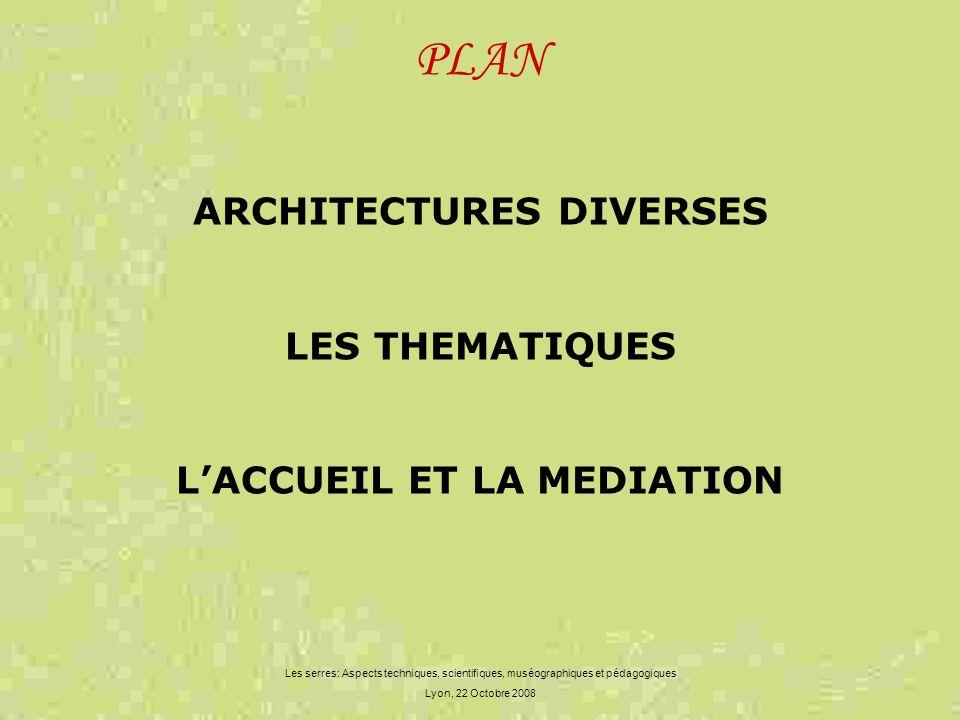 PLAN Les serres: Aspects techniques, scientifiques, muséographiques et pédagogiques Lyon, 22 Octobre 2008 ARCHITECTURES DIVERSES LES THEMATIQUES LACCU