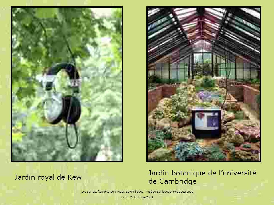 Les serres: Aspects techniques, scientifiques, muséographiques et pédagogiques Lyon, 22 Octobre 2008 Jardin royal de Kew Jardin botanique de luniversi