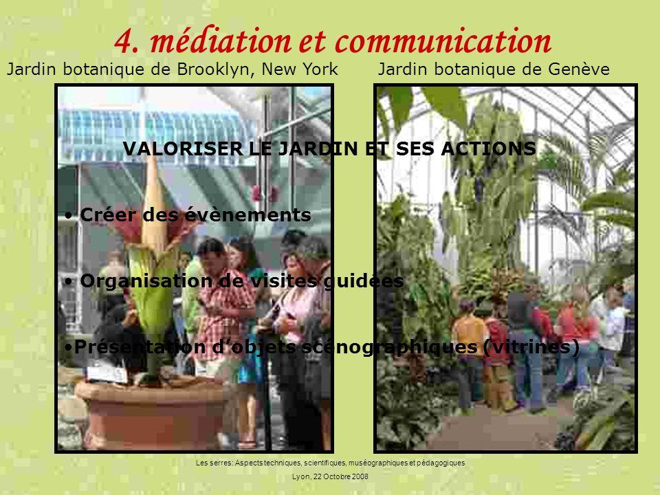 Les serres: Aspects techniques, scientifiques, muséographiques et pédagogiques Lyon, 22 Octobre 2008 4. médiation et communication VALORISER LE JARDIN