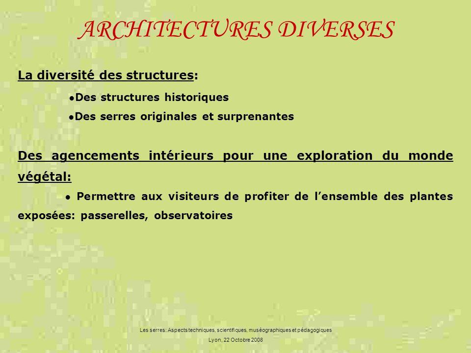 ARCHITECTURES DIVERSES Les serres: Aspects techniques, scientifiques, muséographiques et pédagogiques Lyon, 22 Octobre 2008 La diversité des structure