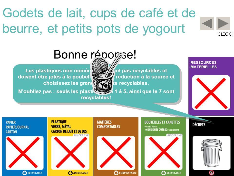 RESSOURCES MATÉRIELLES Godets de lait, cups de café et de beurre, et petits pots de yogourt Les plastiques non numérotés ne sont pas recyclables et do
