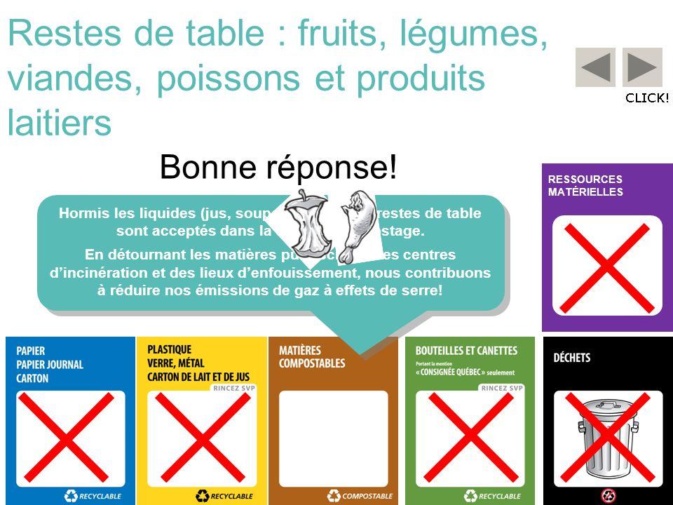 RESSOURCES MATÉRIELLES Restes de table : fruits, légumes, viandes, poissons et produits laitiers Bonne réponse! Hormis les liquides (jus, soupes…), to