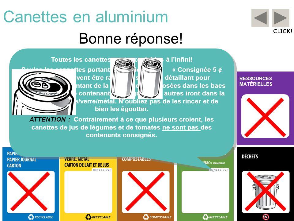 RESSOURCES MATÉRIELLES Canettes en aluminium Bonne réponse! Toutes les canettes sont recyclables à linfini! Seules les cannettes portant la mention «