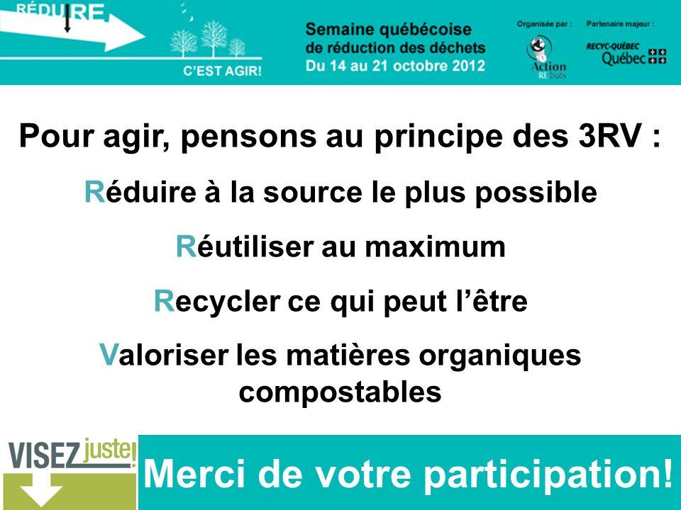 Merci de votre participation! Pour agir, pensons au principe des 3RV : Réduire à la source le plus possible Réutiliser au maximum Recycler ce qui peut