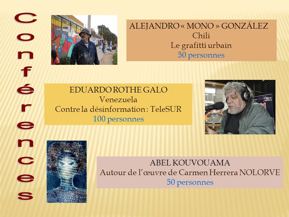 ALEJANDRO « MONO » GONZÁLEZ Chili Le grafitti urbain 50 personnes EDUARDO ROTHE GALO Venezuela Contre la désinformation : TeleSUR 100 personnes ABEL K