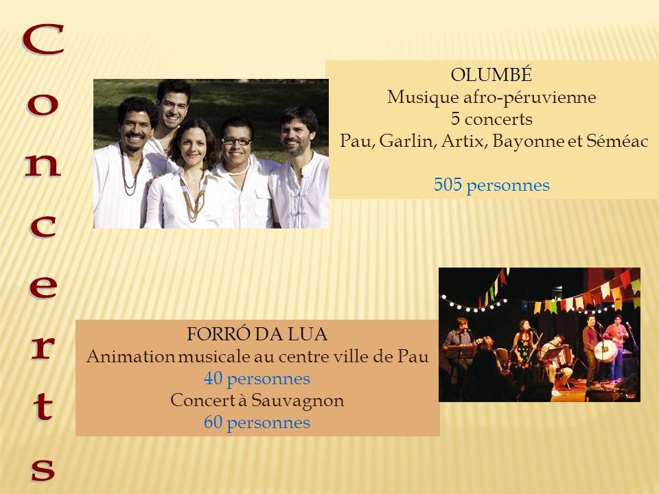 OLUMBÉ Musique afro-péruvienne 5 concerts Pau, Garlin, Artix, Bayonne et Séméac 505 personnes FORRÓ DA LUA Animation musicale au centre ville de Pau 4