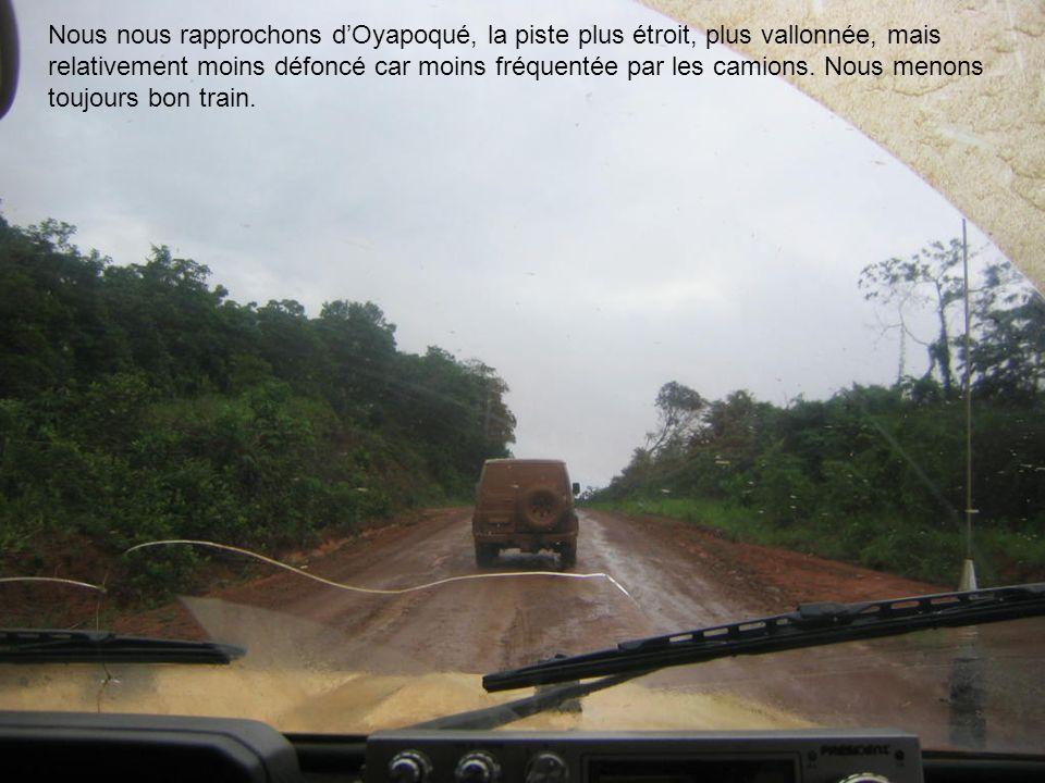 Nous nous rapprochons dOyapoqué, la piste plus étroit, plus vallonnée, mais relativement moins défoncé car moins fréquentée par les camions. Nous meno