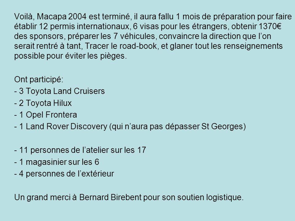 Voilà, Macapa 2004 est terminé, il aura fallu 1 mois de préparation pour faire établir 12 permis internationaux, 6 visas pour les étrangers, obtenir 1