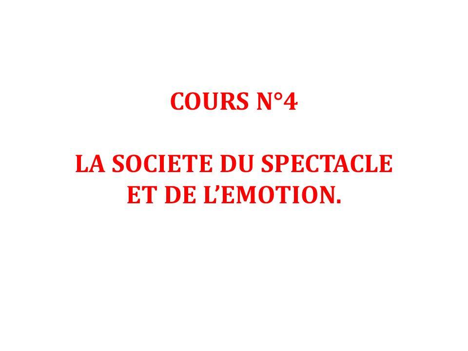 COURS N°4 LA SOCIETE DU SPECTACLE ET DE LEMOTION.