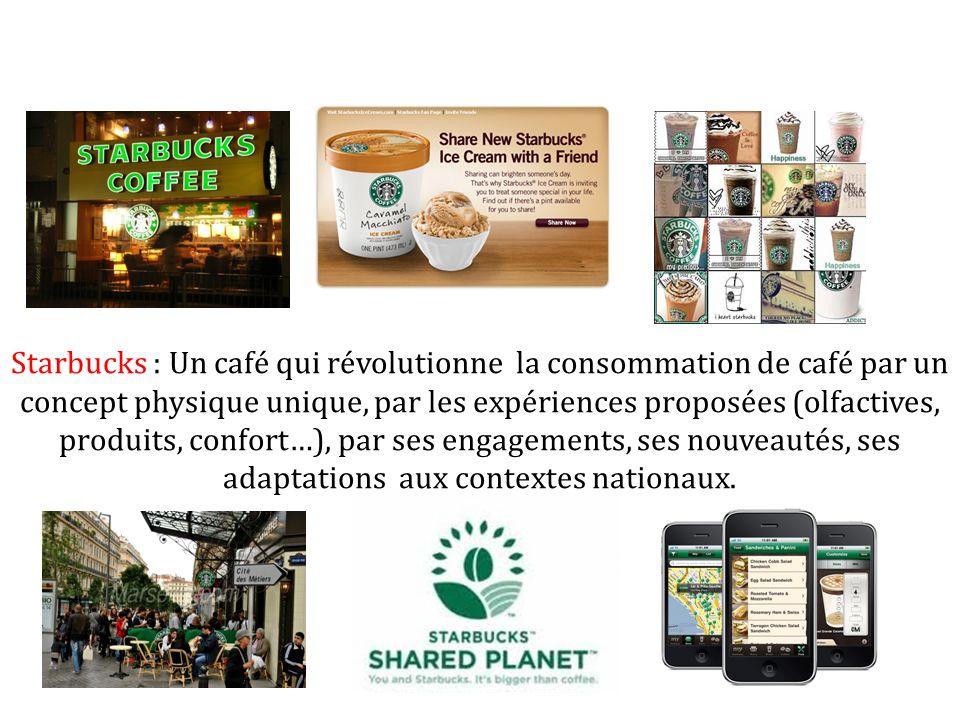 Starbucks : Un café qui révolutionne la consommation de café par un concept physique unique, par les expériences proposées (olfactives, produits, conf