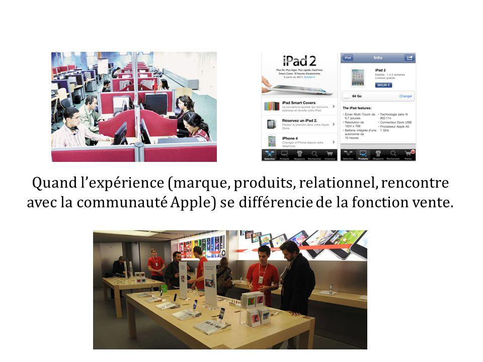 Quand lexpérience (marque, produits, relationnel, rencontre avec la communauté Apple) se différencie de la fonction vente.