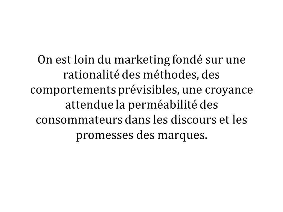 On est loin du marketing fondé sur une rationalité des méthodes, des comportements prévisibles, une croyance attendue la perméabilité des consommateur