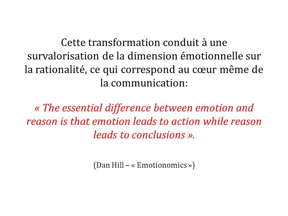Cette transformation conduit à une survalorisation de la dimension émotionnelle sur la rationalité, ce qui correspond au cœur même de la communication