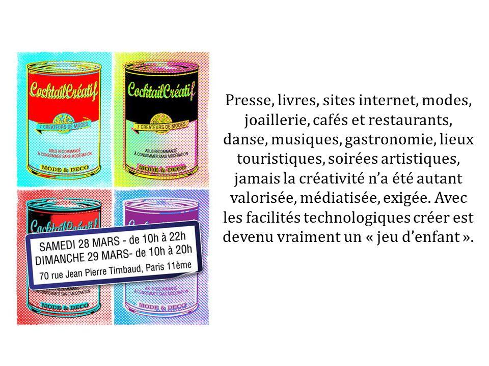 Presse, livres, sites internet, modes, joaillerie, cafés et restaurants, danse, musiques, gastronomie, lieux touristiques, soirées artistiques, jamais