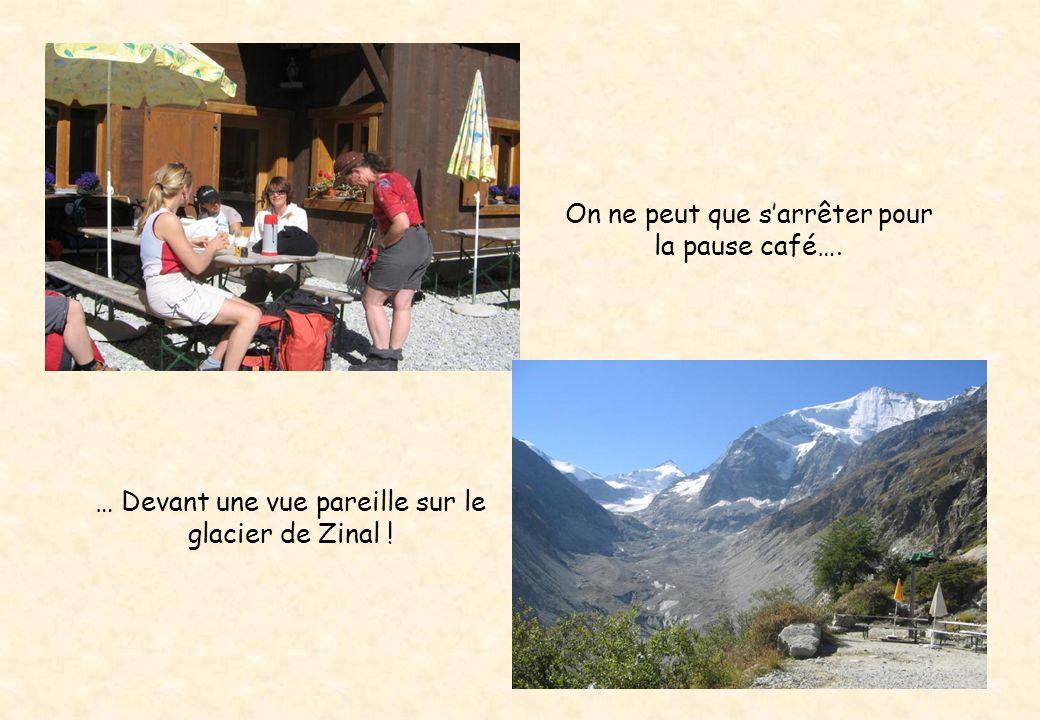 … Devant une vue pareille sur le glacier de Zinal ! On ne peut que sarrêter pour la pause café….