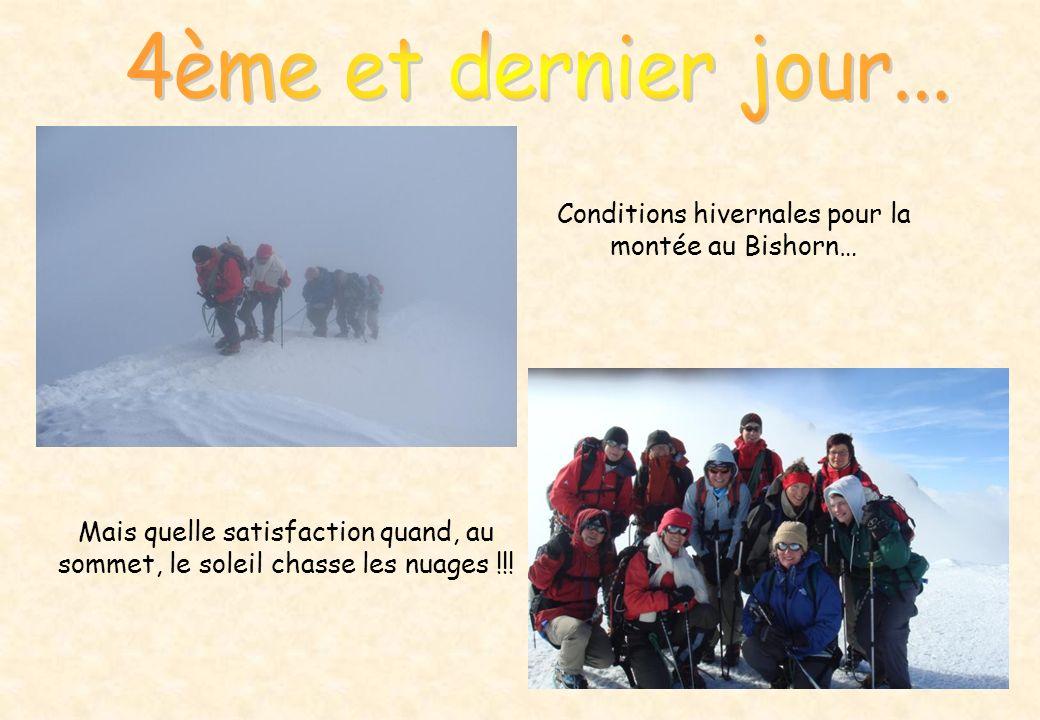 Conditions hivernales pour la montée au Bishorn… Mais quelle satisfaction quand, au sommet, le soleil chasse les nuages !!!