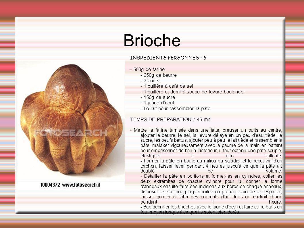 Brioche INGREDIENTS PERSONNES : 6 - 500g de farine - 250g de beurre - 3 oeufs - 1 cuillère à café de sel - 1 cuillère et demi à soupe de levure boulan