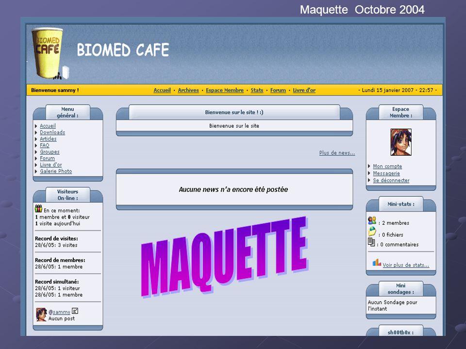 Maquette prototype Voir pour présenter peut être si en archive une première image du site Description des premiers éléments mis sur le site Maquette O