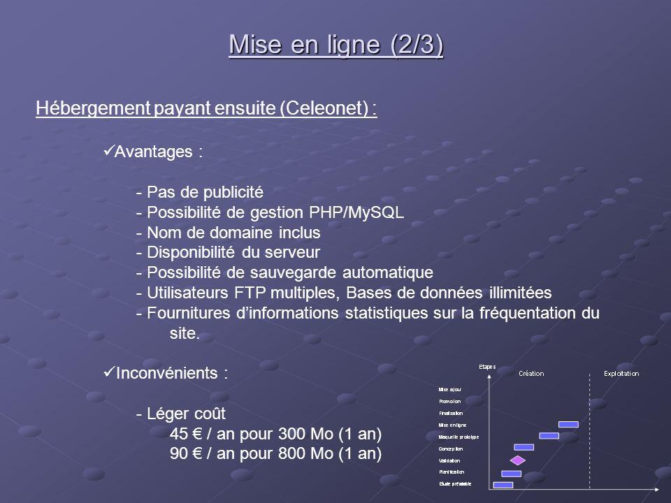 Hébergement payant ensuite (Celeonet) : Avantages : - Pas de publicité - Possibilité de gestion PHP/MySQL - Nom de domaine inclus - Disponibilité du s