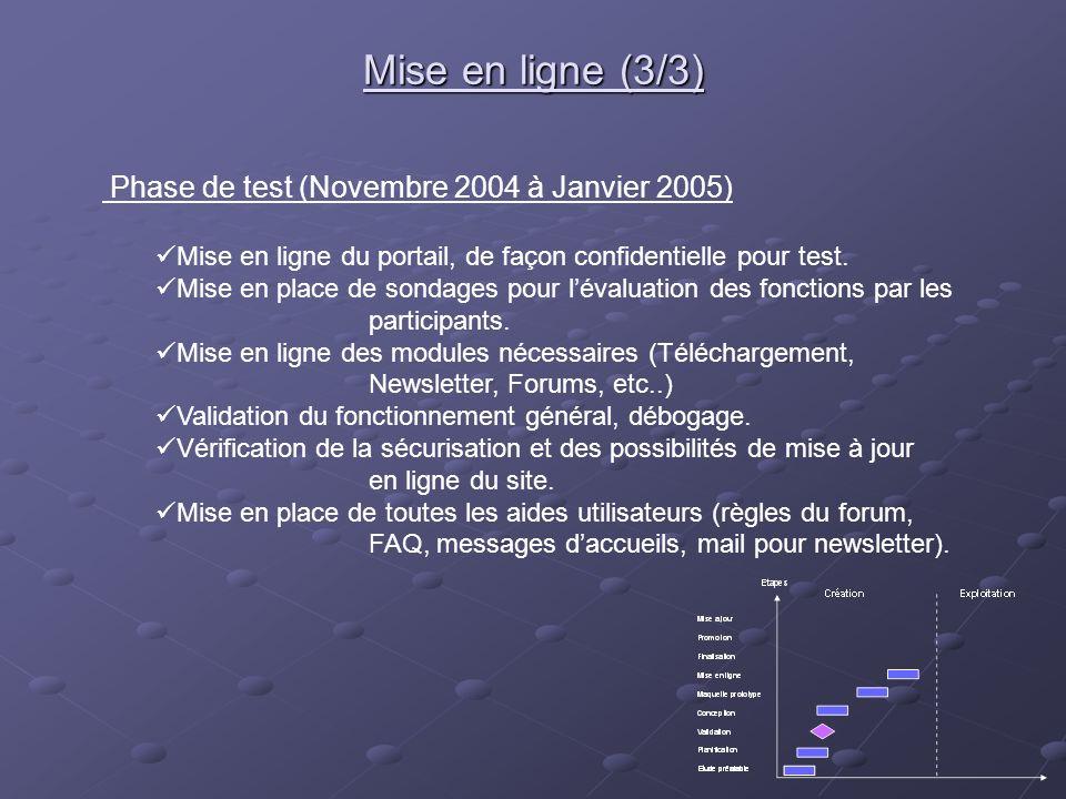 Phase de test (Novembre 2004 à Janvier 2005) Mise en ligne du portail, de façon confidentielle pour test. Mise en place de sondages pour lévaluation d