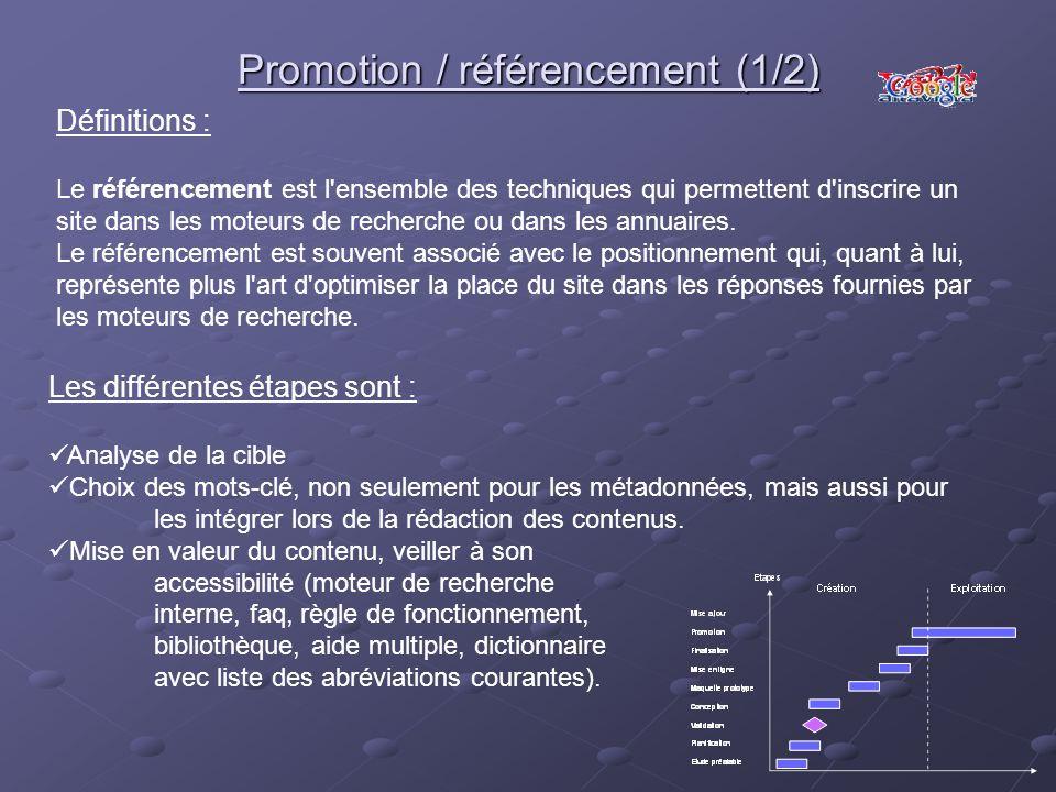 Promotion / référencement (1/2) Les différentes étapes sont : Analyse de la cible Choix des mots-clé, non seulement pour les métadonnées, mais aussi p