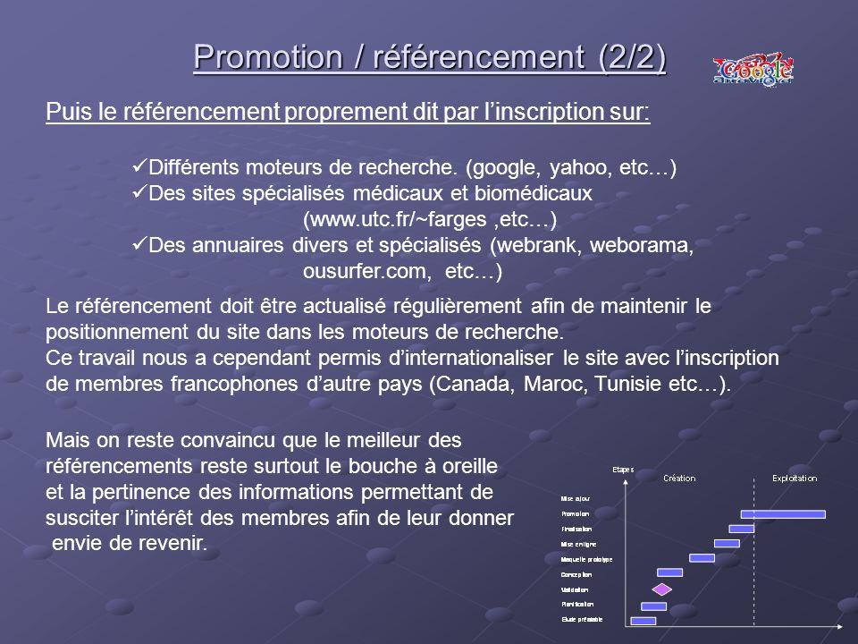 Promotion / référencement (2/2) Puis le référencement proprement dit par linscription sur: Différents moteurs de recherche. (google, yahoo, etc…) Des