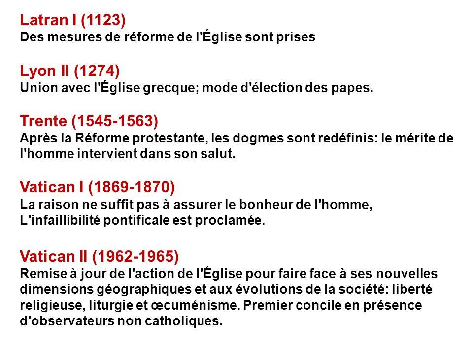 Latran I (1123) Des mesures de réforme de l'Église sont prises Lyon II (1274) Union avec l'Église grecque; mode d'élection des papes. Trente (1545-156