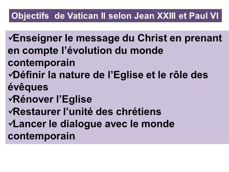 Objectifs de Vatican II selon Jean XXIII et Paul VI Enseigner le message du Christ en prenant en compte lévolution du monde contemporain Définir la na