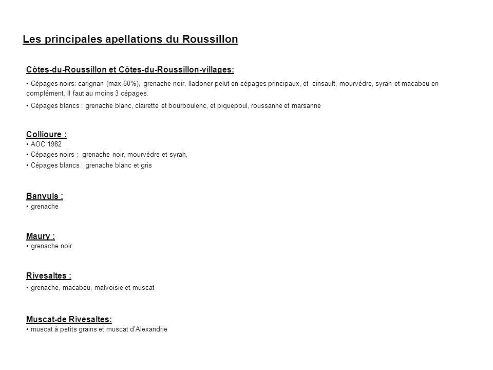 Les principales apellations du Roussillon Côtes-du-Roussillon et Côtes-du-Roussillon-villages: Cépages noirs: carignan (max 60%), grenache noir, lladoner pelut en cépages principaux, et cinsault, mourvèdre, syrah et macabeu en complément.